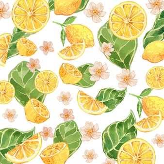 Watercolor lemon yellow gouache seamless pattern