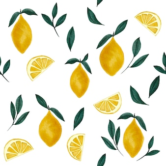 Watercolor lemons and branches seamless pattern