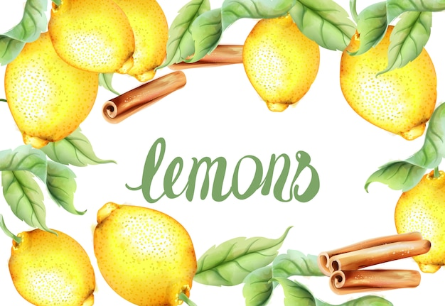 Watercolor lemons and cinnamon