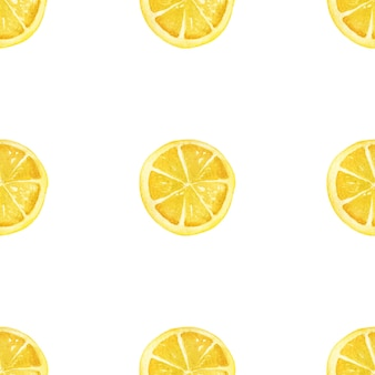 Watercolor lemons on a white background. seamless pattern.