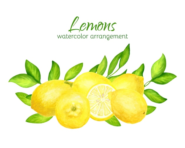 Watercolor lemons with leaves