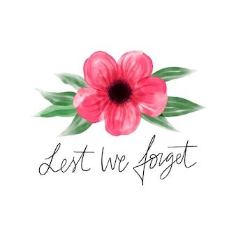 양귀비 꽃이 그려진 메시지를 잊지 않도록 수채화