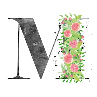 Watercolor letter m with floral decoration
