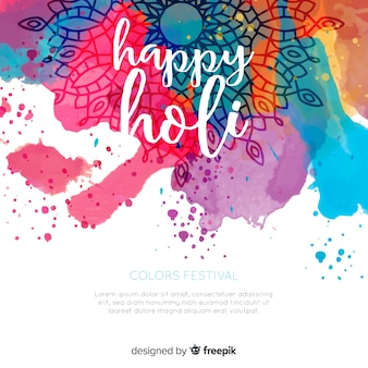Watercolor lettering holi background