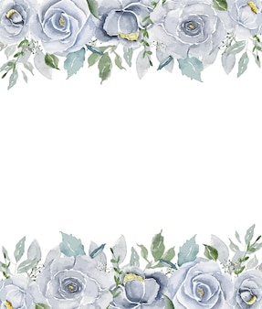 Watercolor light blue vintage roses top and bottom row with white open space background