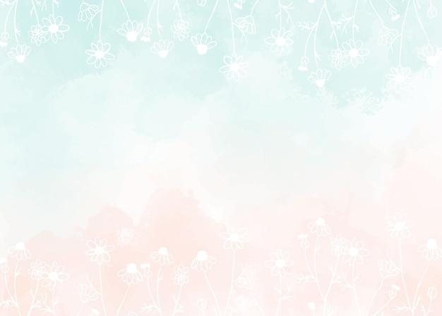 수채화 빛 녹색과 흰색 낙서 라인 아트 야생 카모마일 꽃과 오래 된 장미 복숭아 핑크 스플래시 배경