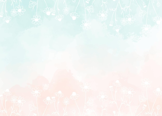 Watercolor light green and old rose peach pink splash background with white doodle line art wild chamomile flower