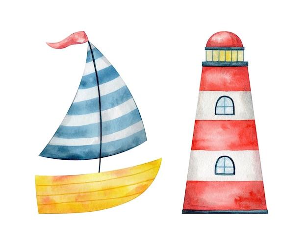 Акварельный маяк и лодка. морская иллюстрация для детей