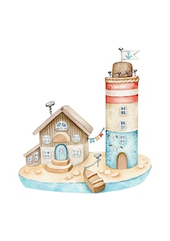 Watercolor lighthouse with house