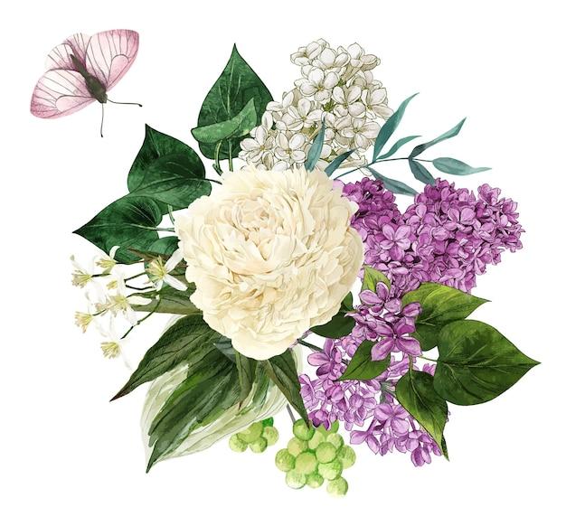 수채화 라일락 꽃과 잎