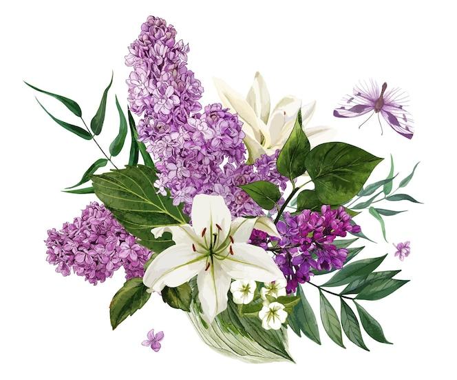 Акварельные сиреневые цветы и листья