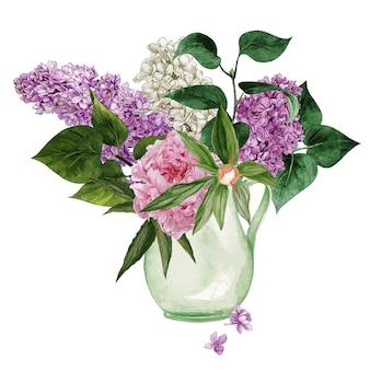 水彩ライラックの花と葉