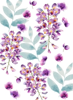 Watercolor lilac flowers and green leaves pattern