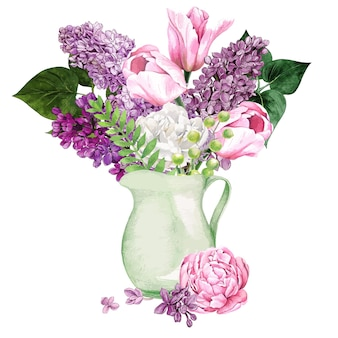 Watercolor lilac flowers and leaves