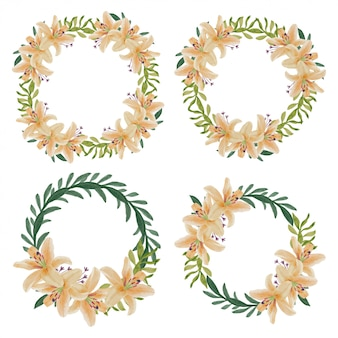 水彩のユリの花の輪の花輪の装飾