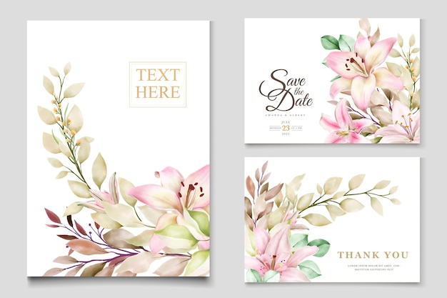 Watercolor lily flower invitation card set