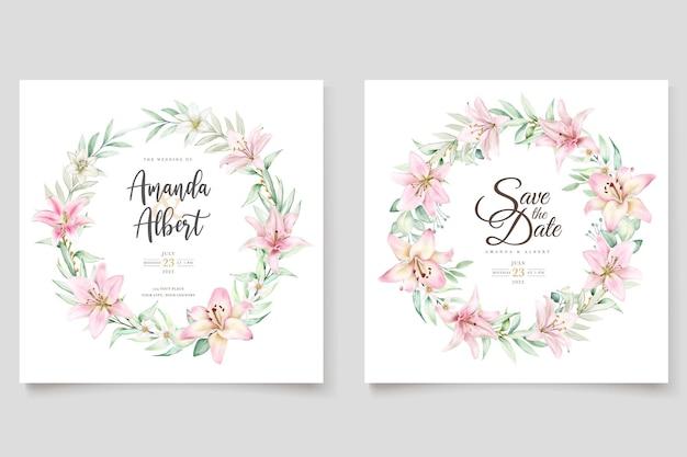 Watercolor lily invitation card set