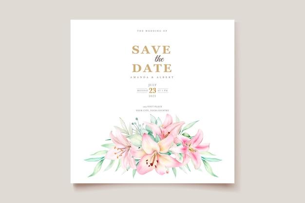 Watercolor lily invitation card