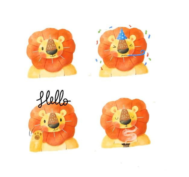 Коллекция акварельных львов