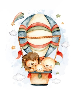 Watercolor lion family flying with hot air balloon