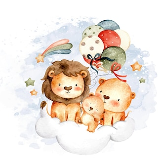 Watercolor lion family sitting on the cloud