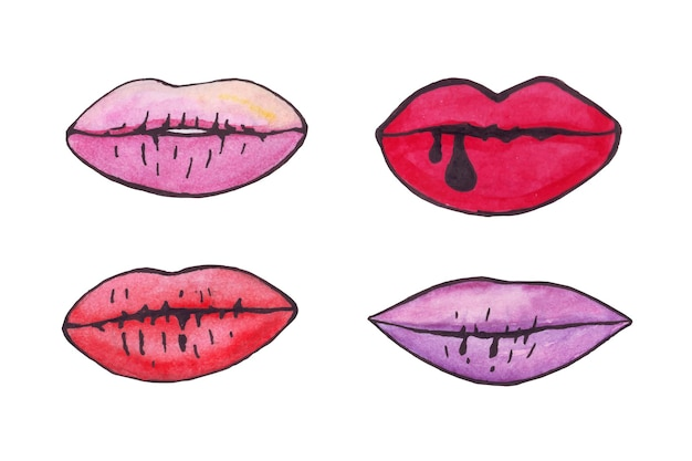 Watercolor lips with black outline
