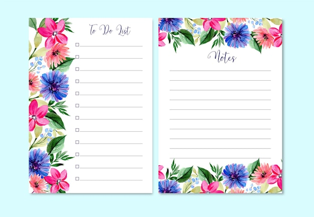 Watercolor to do list template of pink lily and daisy cute and pretty