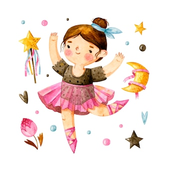 Watercolor little ballerina with cute girlish elements