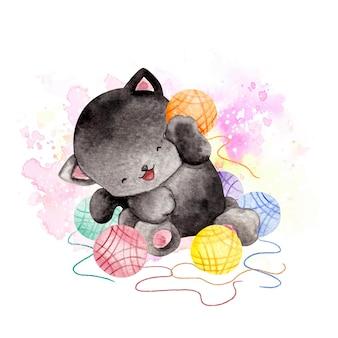 Акварель маленький черный кот играет пряжей из шерсти