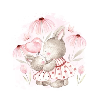 Watercolor little bunny with lovely mom