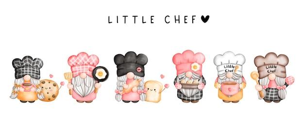 Watercolor little chef gnome kitchen gnome Premium Vector