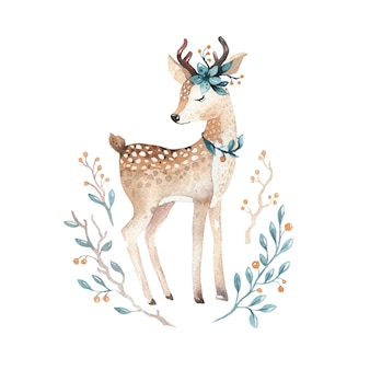 Watercolor little deer baby vector watercolour bembi cartoon baby nursery.
