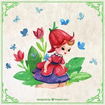 花と水彩画の小さな妖精