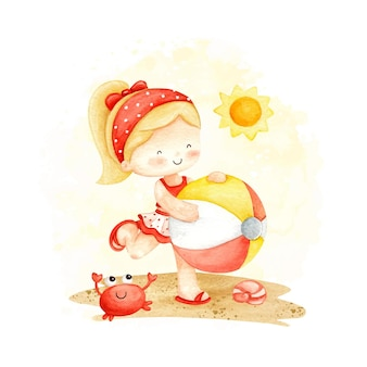 Акварельная маленькая девочка на пляже летом