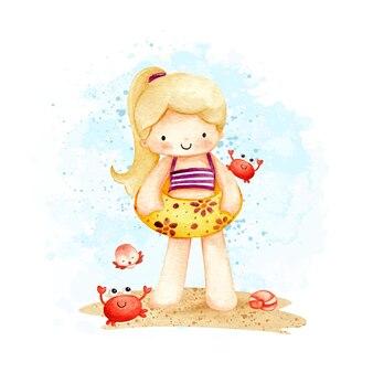 Акварельная маленькая девочка на пляже