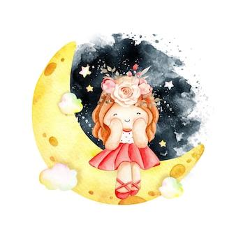 Акварельная маленькая девочка, сидящая на луне