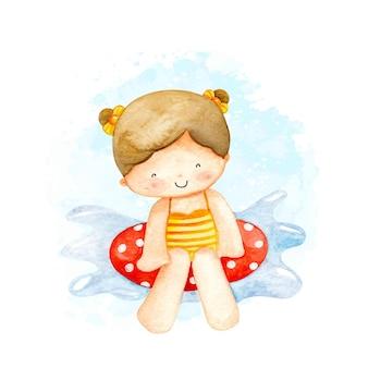 Акварель маленькая девочка плавание