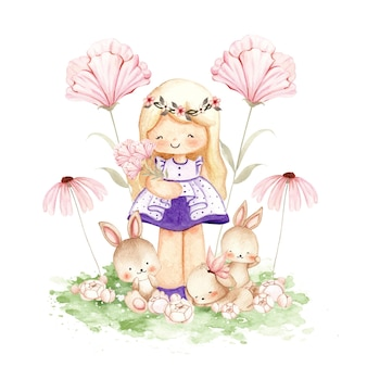 Watercolor little girl with bunnies at the garden