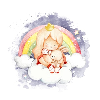Акварельная маленькая девочка с кроликом на облаке