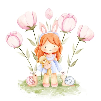 Watercolor little girl with teddy bear and flowers