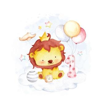 Watercolor little lion on the cloud