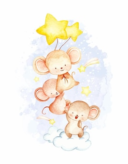 수채화 작은 마우스와 별