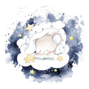 Watercolor little mouse reading on the cloud