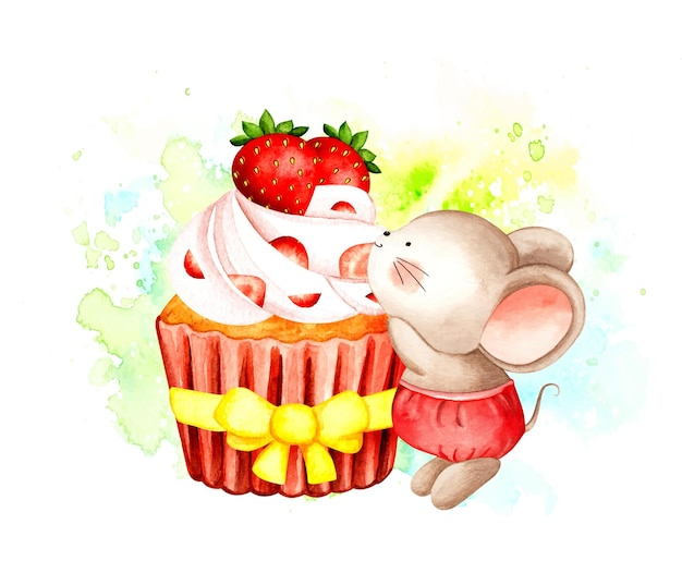 Watercolor little mouse and strawberry cupcake