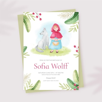 Watercolor little red riding hood birthday invitation