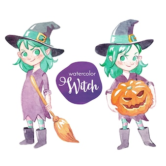 Watercolor little witch character
