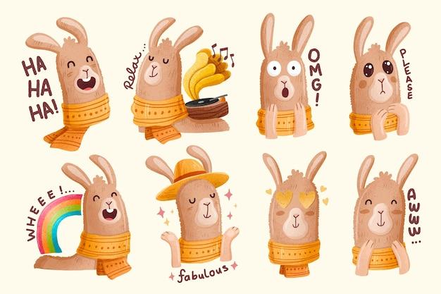 수채화 라마 스티커 컬렉션
