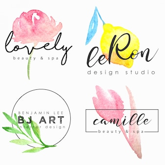 Watercolor logo template set