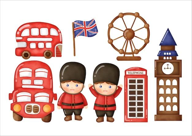 수채화 런던 영국 설정합니다.