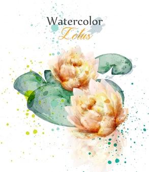 水彩ハスの花